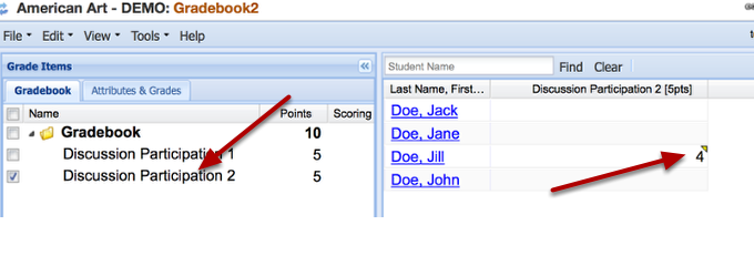 Example of the grade posted in the Gradebook spreadsheet: