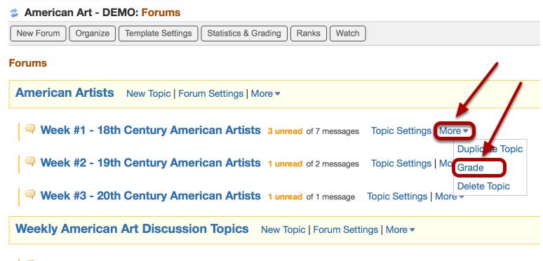 Method 3: •Assign a grade using the Forum or Topic Grade tool - Click More / Grade