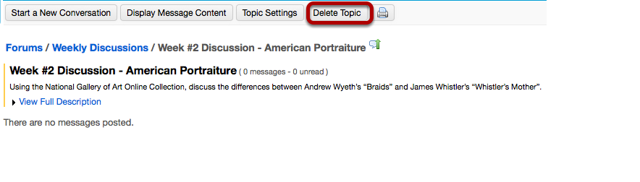 Then click Delete Topic from within that topic.