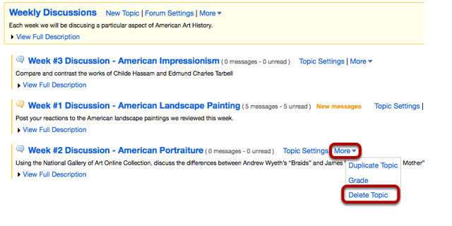 Select Delete Topic from the drop-down menu of the Topic you want to delete.
