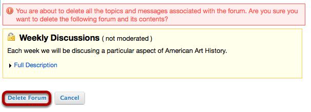 Click Delete Forum.