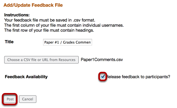 Checkmark Release Feedback, then click Post.