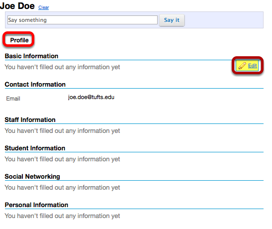 Click Profile, then to the right of the Basic Information section, click Edit.