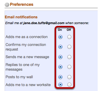 Manage email notifications.