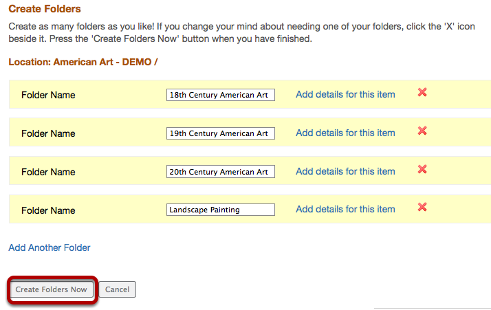 To create the folder(s) in Resources, click Create Folders Now.