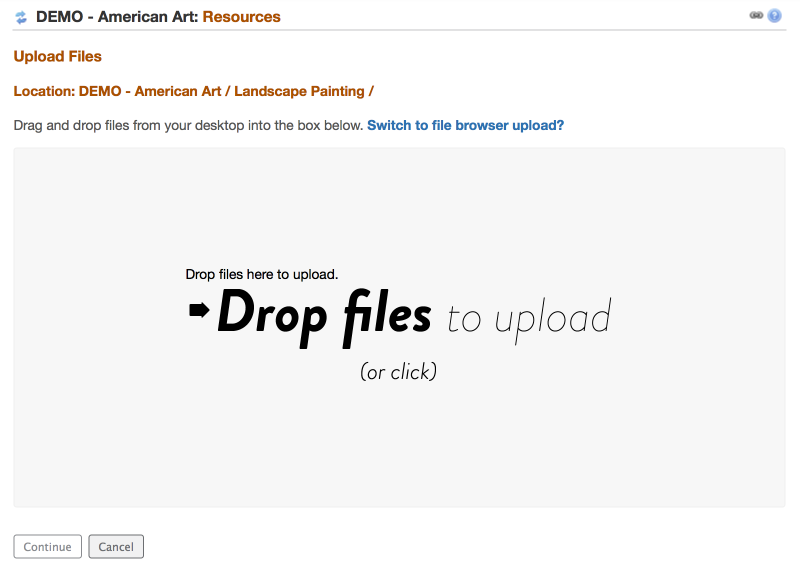 """Drag and drop the files to the """"Drop Files"""" box OR click in the box to display your computer file locator."""