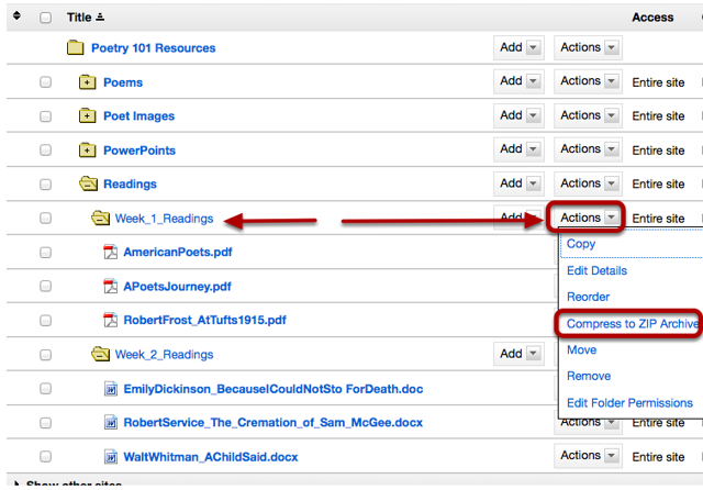 To the right of the folder you want to zip archive, click Actions / Compress Zip Archive.