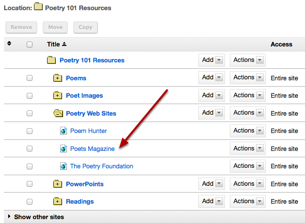 This creates links to the web sites in the selected Resource folder.