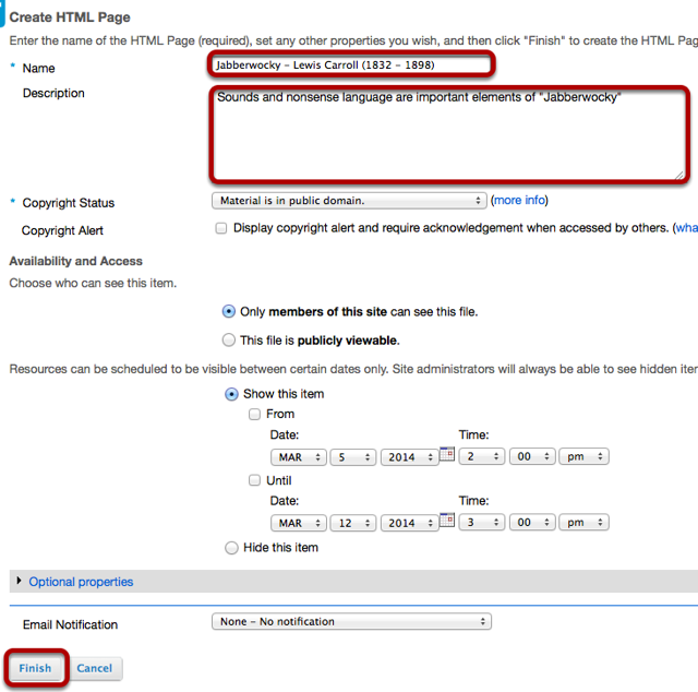 Enter a Name for the HTML document and any other data, then click Finish.