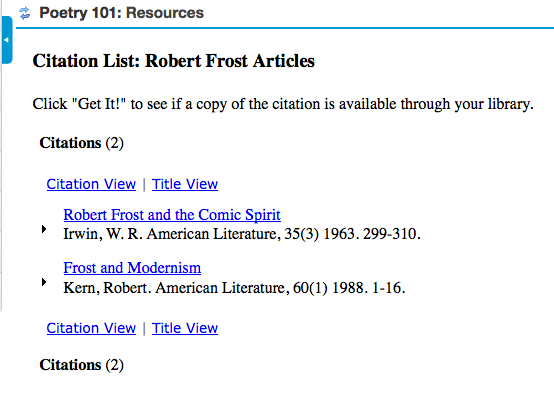 Clicking on the citation list name displays the citation list.
