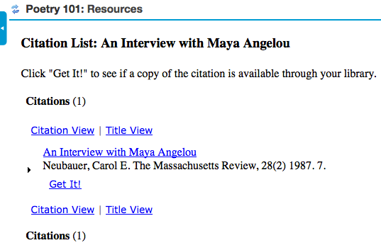 Clicking on the citation name displays the citation.