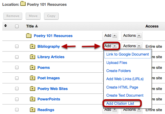 Method 2: To the right of the folder you want to create the citation list, click Add / Add Citation List.
