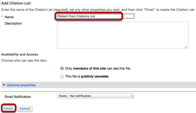 Enter a title for the Citation, add description, adjust visibility, then click Finish.