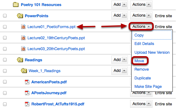 Method 2: To the right of the file or folder you want to move, click Actions / Move.