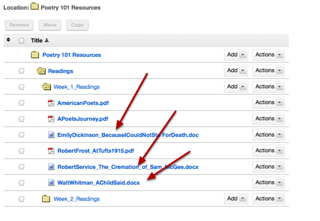 This returns the display to the Resources page with the files or folders now moved to the other folder.