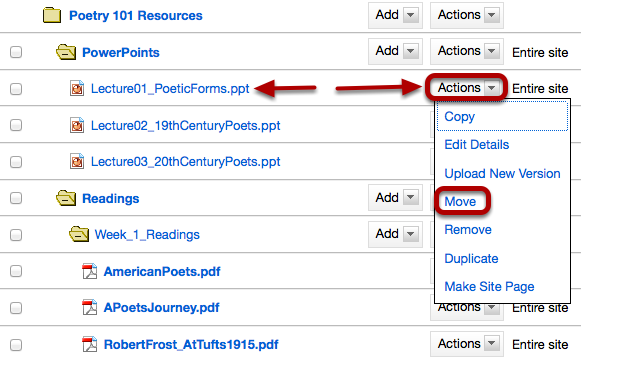 Method 1: To the right of the file or folder you want to move, click Actions / Move.