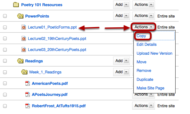 Method 1: To the right of the file or folder you want to copy, click Actions / Copy.