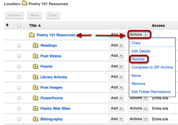 To reorder the folders on a site, to the right of the root folder, click Actions / Reorder.