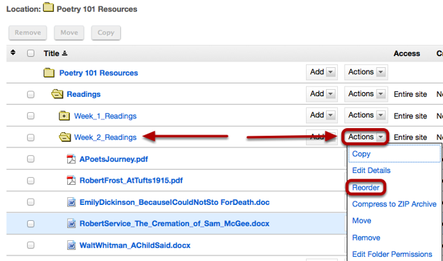 To reorder the files in a folder, to the right of the folder, click Actions / Reorder.