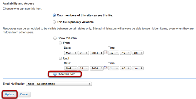 """Under Availability and Access, select """"Hide this item"""", then click Update."""