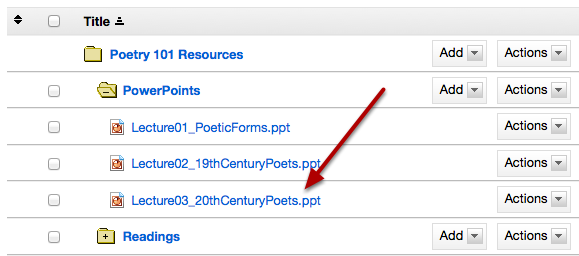 This returns the display to the Resources page with the selected item available.