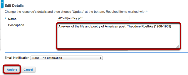 Enter (or paste) a description of the file or folder in the Description box, then click Update.