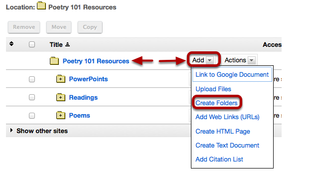 To create a Group folder, to the right of the root folder, click Add / Create Folders.