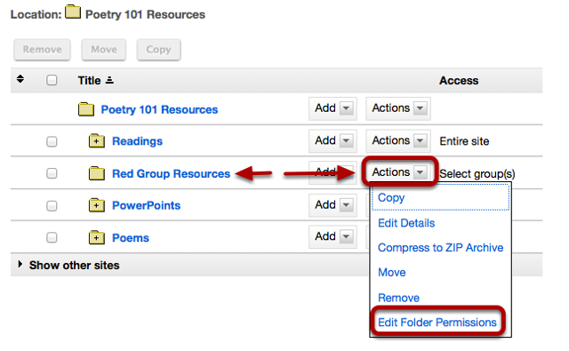 To grant uploading permission to group members, to the right of the group folder, click Actions / Edit Folder Permissions.