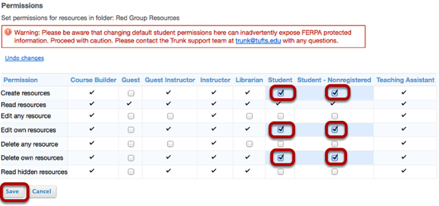 In the student column and the student non-registered column, select Create resources, Edit own resources and Delete own resources, then click Save.