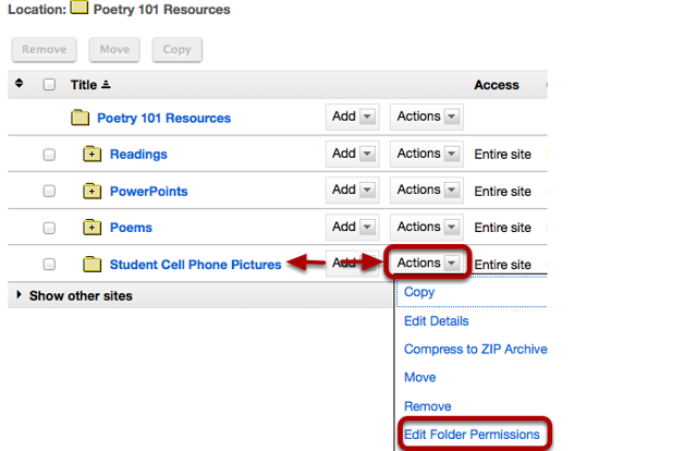 To grant uploading permission to all students, to the right of the folder, click Actions / Edit Folder Permissions.
