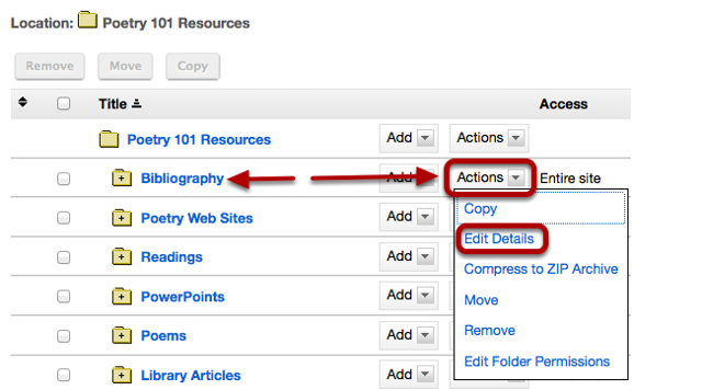 To make a file or folder publicly viewable, to the right of the file or folder, click Actions / Edit Details.