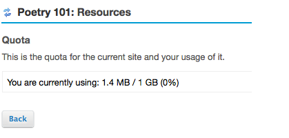 The amount of storage space currently being used and the site's quota will be displayed.