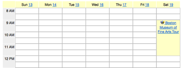 Example of the Calendar event listed in the Calendar:
