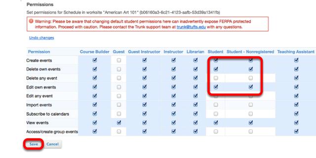 Modify the permissions, then click Save.
