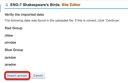 Click Import Groups.