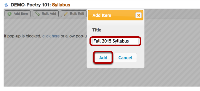 Enter a Syllabus title, then click Add