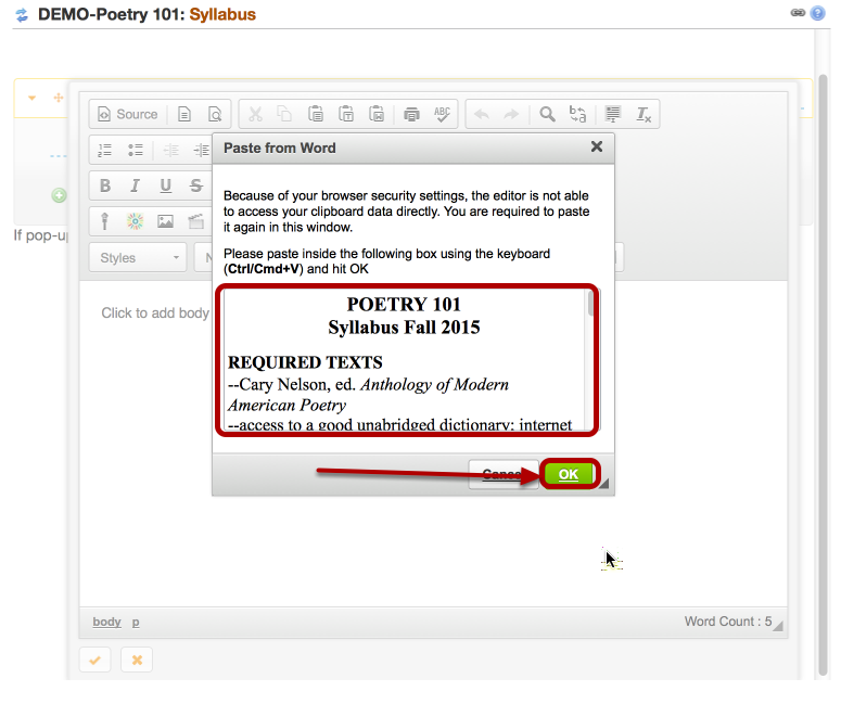 Paste the Syllabus text into the Paste from Word box, then click OK