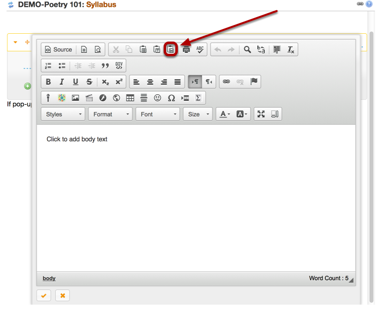 If you are pasting from MS Word, copy the MS Word text, THEN, click the Paste From Word icon.