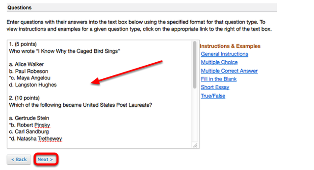 Copy your Markup questions and Paste them into the Question box, then click Next.