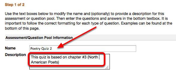 Edit the assessment name and enter a description (Optional)