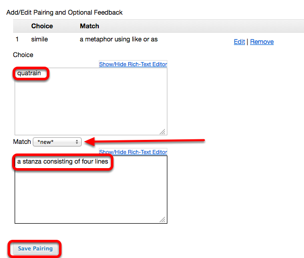 (Example): - Continue to add correct Choice / Match parings.