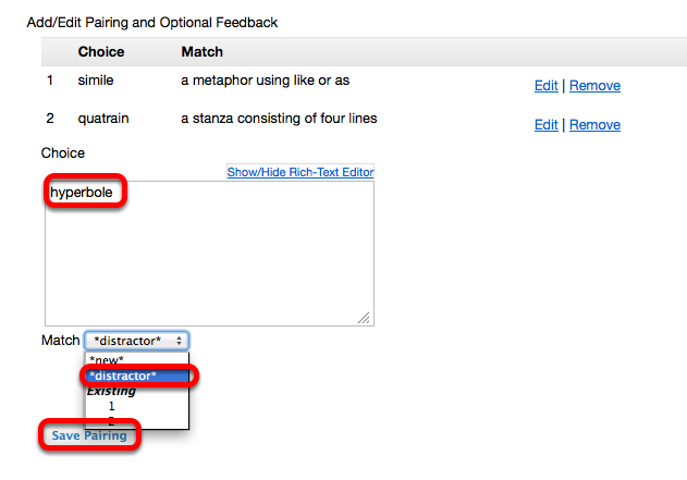 """(Example): - Adding a """"distractor"""" match (students must select """"none of the above"""")"""