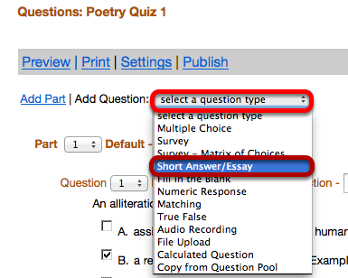 """Use the """"Select a question type"""" dropdown box to select the ShortAnswer / Essay question type."""
