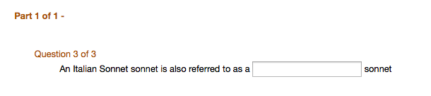 Example of what the Fill in the Blank question looks like from the student view: