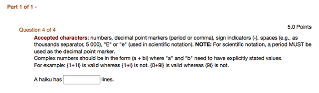 Example of what the Numeric Response question looks like from the student view: