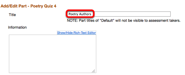 Enter a Title for the part and a description (Optional).