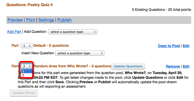"""Use the order dropdown box to make the random draw """"Part"""", the first """"Part"""" of the assessment."""