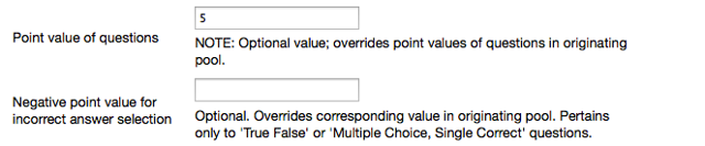 Enter a Point value for the questions.