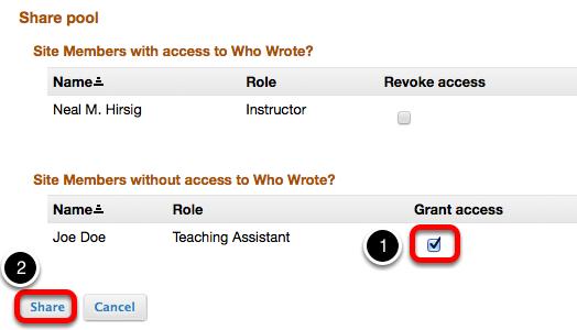 Checkmark Grant Access, then click Share.