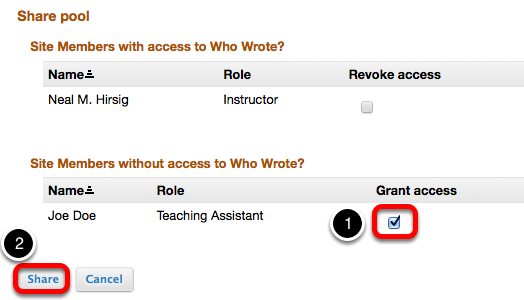 Checkmark Grant Access, then click Share.